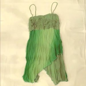 Multi color Green tank top with flare, sheer